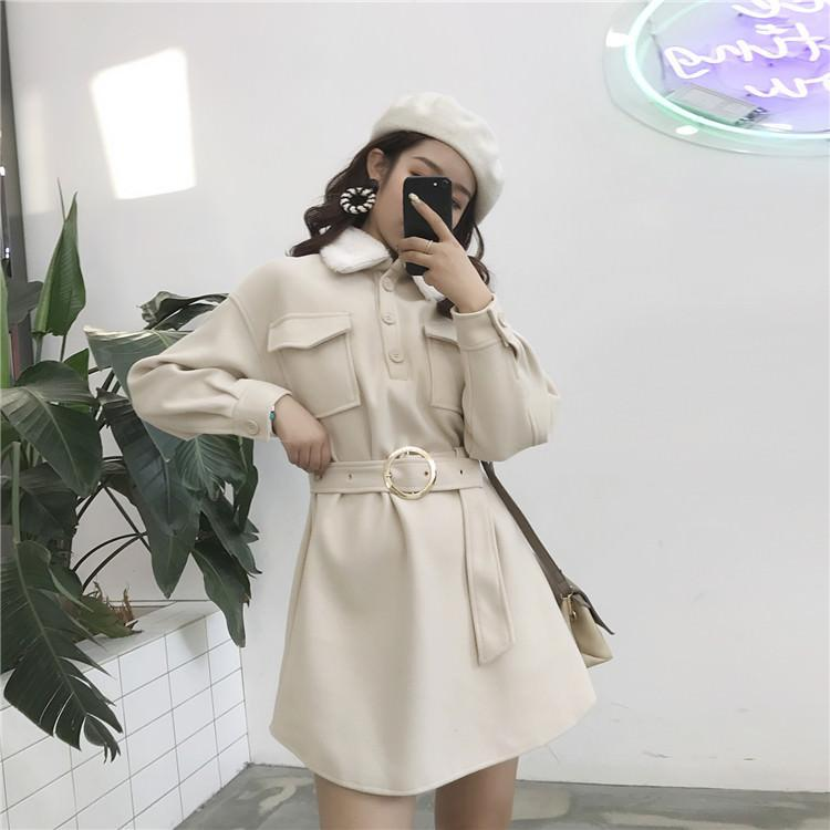 itGirl Shop WARM ELEGANT FRONT POCKETS WAIT ROUND BELT FLUFFY COLLAR DRESS