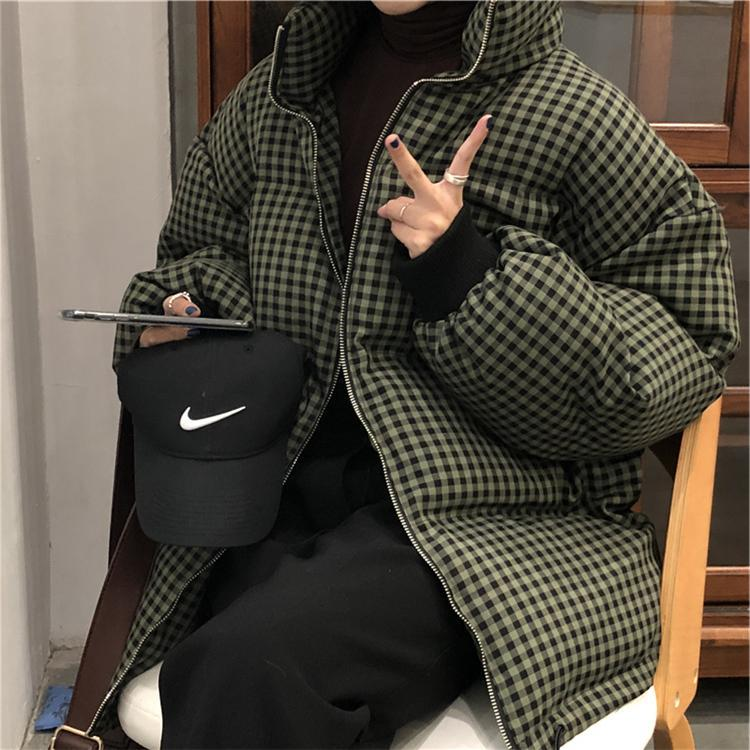 itGirl Shop WARM OVERSIZED BLACK AND WHITE PLAID ZIPPER OUTWEAR