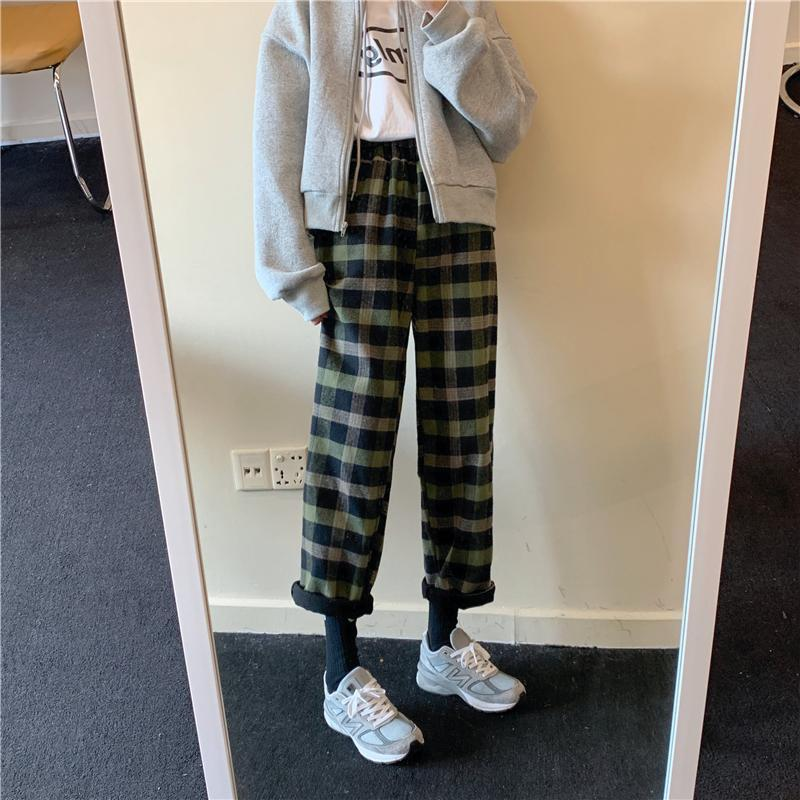 itGirl Shop WARM PLAID ELASTIC WAIST LOOSE PANTS PLUS VELVET
