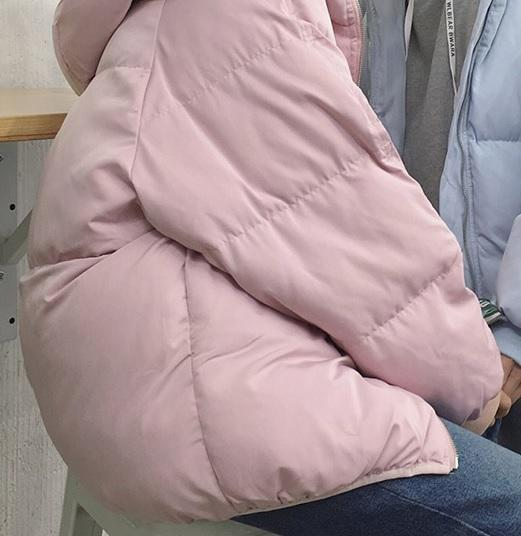 itGirl Shop WARM PUFF PADDED HOOD PASTEL COLORS ZIPPER JACKET