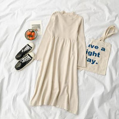 WARM ROUND NECK LONG SLEEVE KNIT LONG DRESS