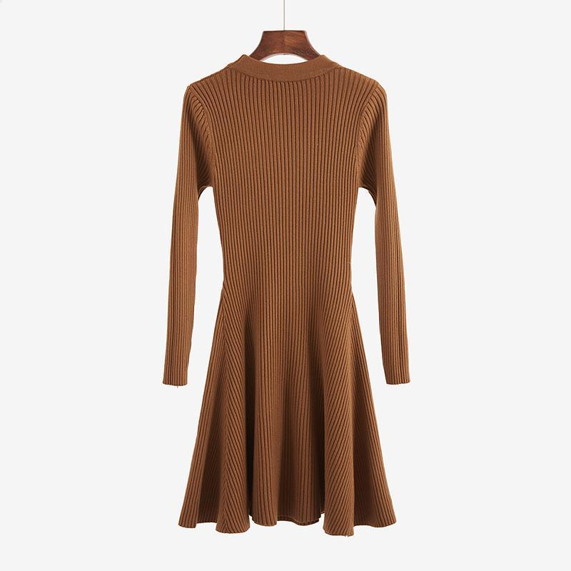 itGirl Shop WARM VERTICAL STRIPES KNIT WARM ELEGANT LONG SLEEVE DRESS