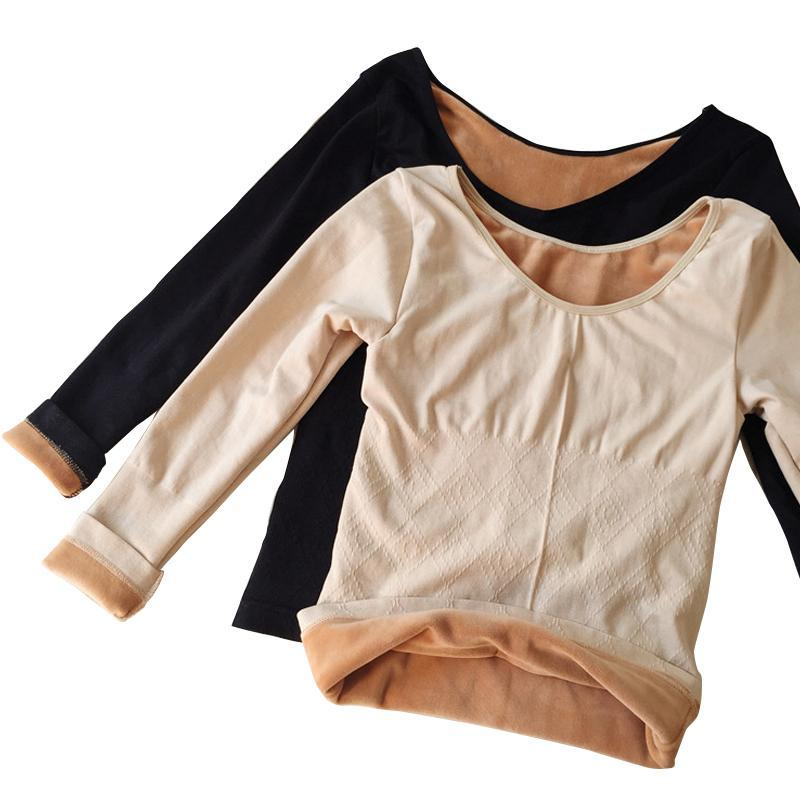 itGirl Shop WARM WINTER BEIGE BLACK LONG SLEEVE VELVET HEAT KNIT INSIDE TOP