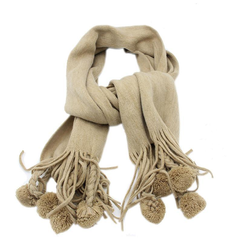 itGirl Shop WARM WOOLEN WINTER AUTUMN POM POM KNIT SCARF