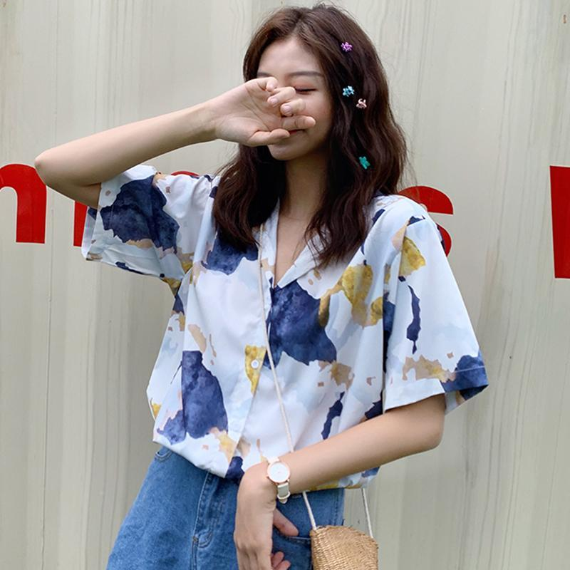 itGirl Shop WATERCOLOR PRINT CASUAL LOOSE THIN SHIRT