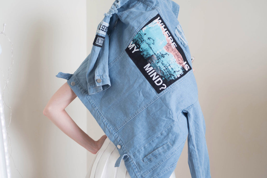 itGirl Shop WHERE IS MY MIND DENIM JEAN BACK JACKET