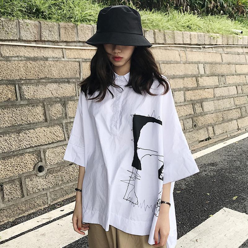 WHITE ABSTRACT LINE ART STITCHING LOOSE SHIRT