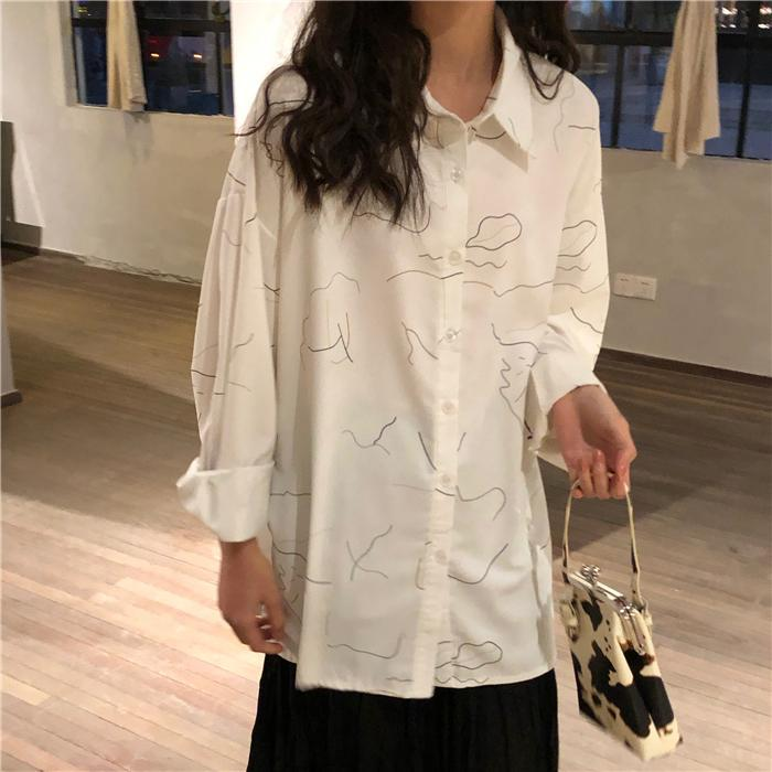 itGirl Shop WHITE ABSTRACT LINES PRINT CHIFFON OVERSIZED BLOUSE