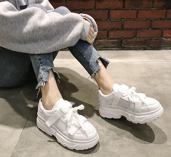 itGirl Shop WHITE AND BLACK CYBER PLATFORM SNEAKERS