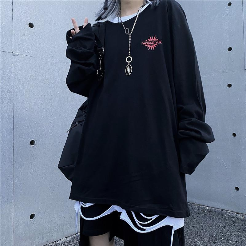 itGirl Shop WHITE BLACK EGIRL SUN BACK PRINT OVERSIZED SHIRT