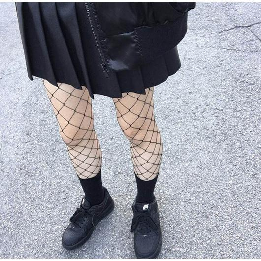 itGirl Shop WHITE BLACK FISH NET GRID HOLES TIGHTS