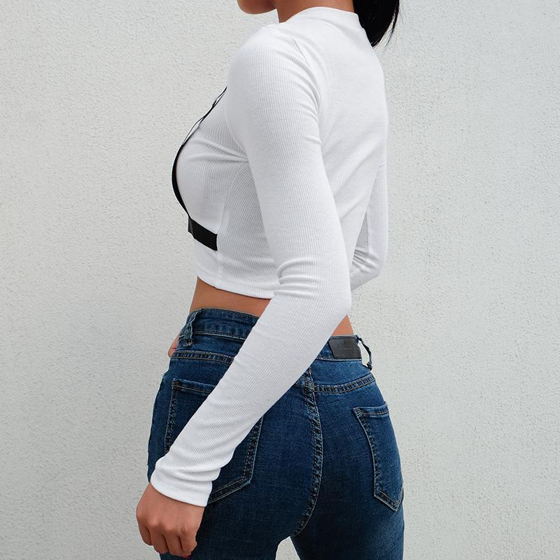 itGirl Shop WHITE BLACK STRAPS LONG SLEEVE CROP SHIRT