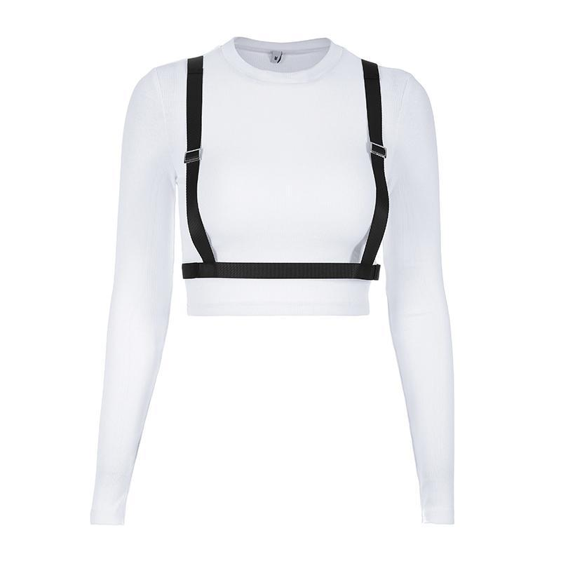 WHITE BLACK STRAPS LONG SLEEVE CROP SHIRT