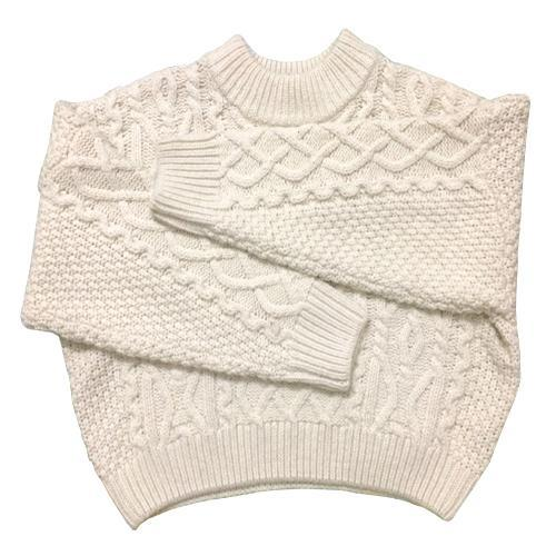 itGirl Shop WHITE CREAM BRAID KNIT VOLUME BASIC WARM SWEATER