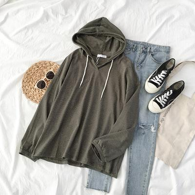 itGirl Shop WHITE DARK GREEN STRIPED THIN LONG SLEEVE HOODIE