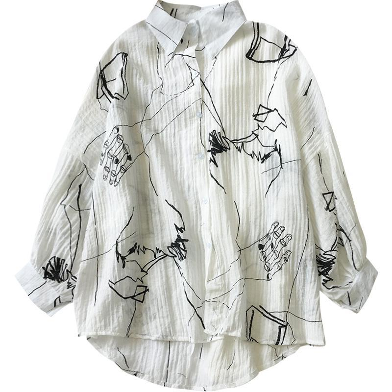 itGirl Shop WHITE FRILLED ART LINED HANDS LONG SLEEVE LOOSE SHIRT