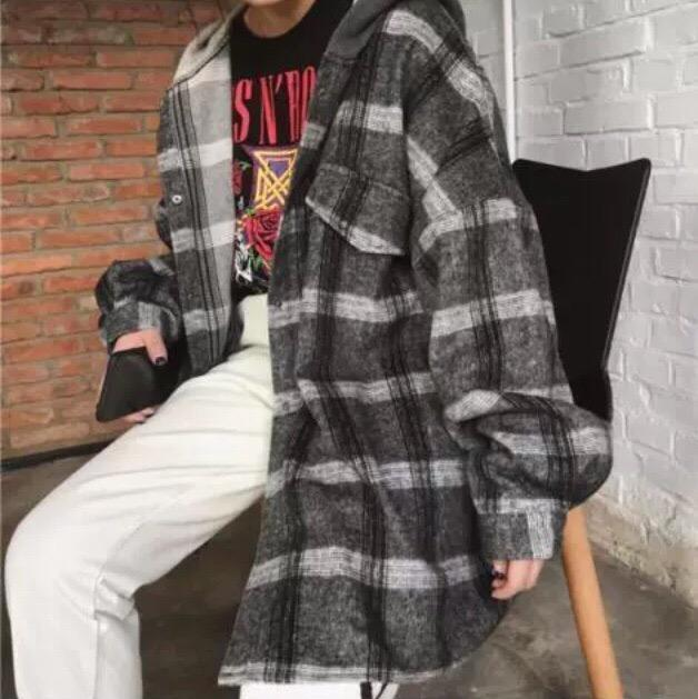 itGirl Shop WHITE GRAY PLAID LOOSE HOODED JACKET