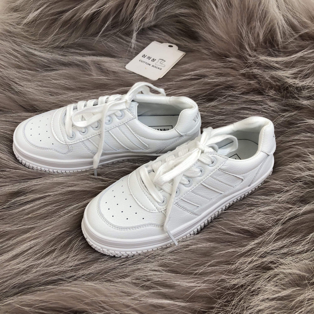 itGirl Shop WHITE LEATHER THICK SOLED SNEAKERS