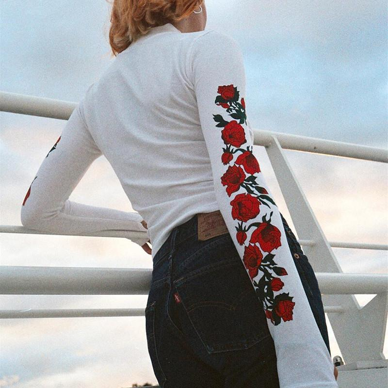 itGirl Shop WHITE LONG SLEEVE RED ROSES CROP THIN COTTON BLOUSE TOP