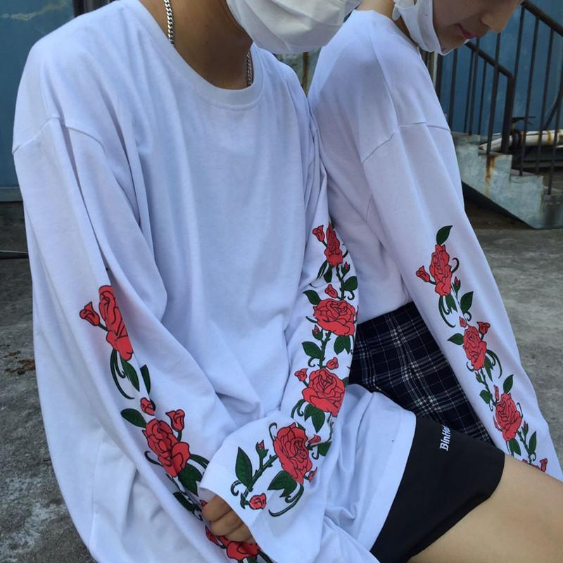 itGirl Shop WHITE LONG SLEEVE ROSES FLOWERS PRINT OVERSIZED SWEATSHIRTS Aesthetic Apparel, Tumblr Clothes, Soft Grunge, Pastel goth, Harajuku fashion. Korean and Japan Style looks