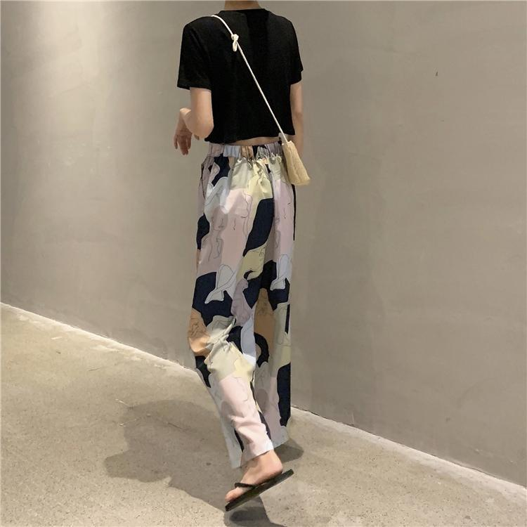 itGirl Shop WHITE OVERSIZED SHIRT + DRAWING PRINT HIGH WAIST PANTS