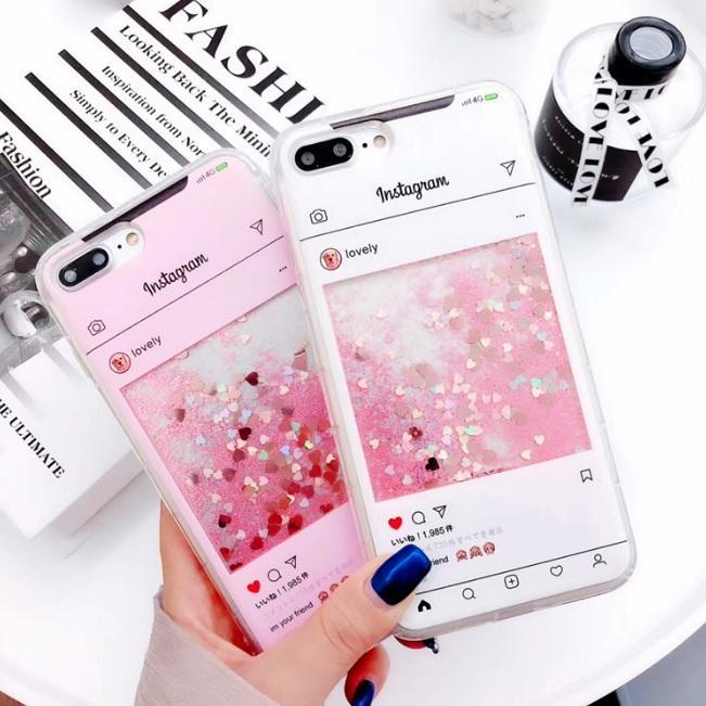 WHITE PINK SCREENSHOT GLITTER IPHONE COVER CASE