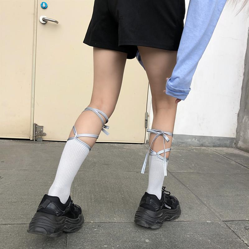 itGirl Shop WHITE TUMBLR AESTHETIC REFLECTIVE STRAPS TALL SOCKS
