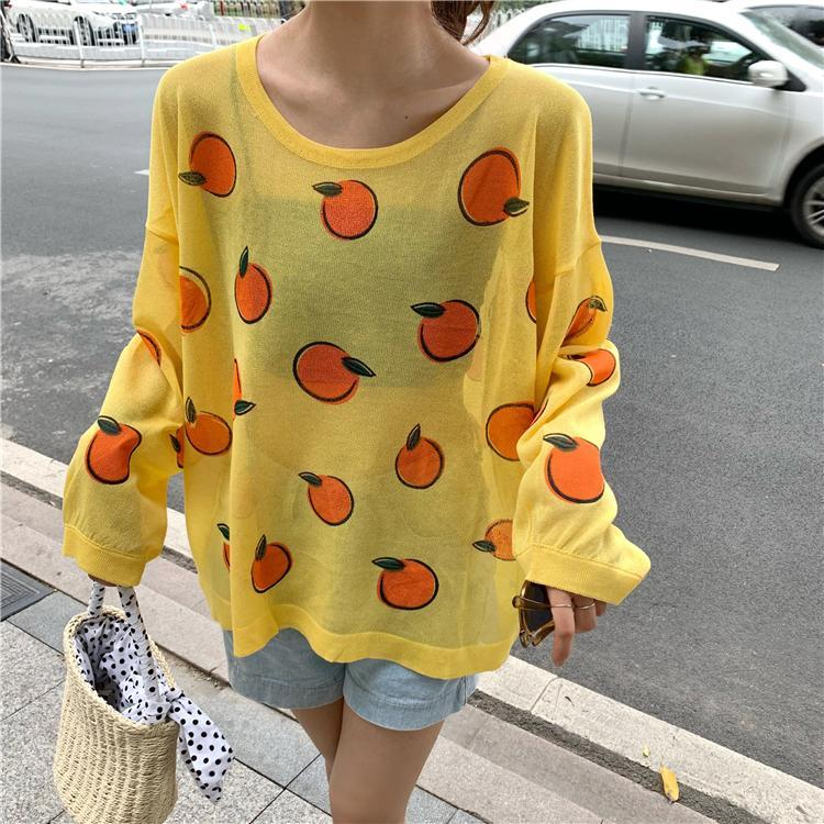 WHITE YELLOW ORANGES PRINT THIN TRANSPARENT BLOUSE