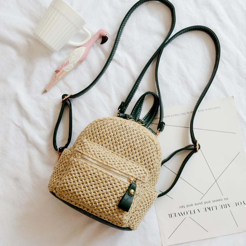 itGirl Shop WICKER SUMMER LEATHER STRAPS BACKPACK
