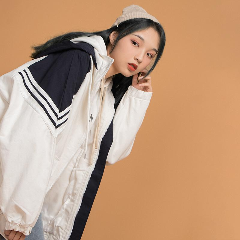 itGirl Shop WINBREAKER 90s OVERSIZED ZIPPER HOODED JACKET