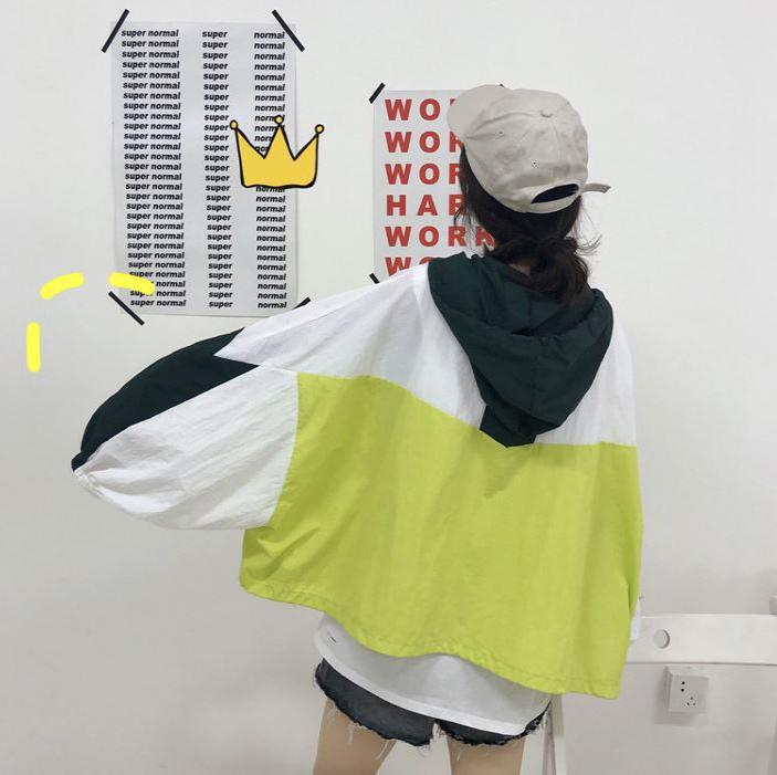 itGirl Shop WINDBREAKER COLOR BLOCK HOODED OVERSIZED BOMBER JACKET