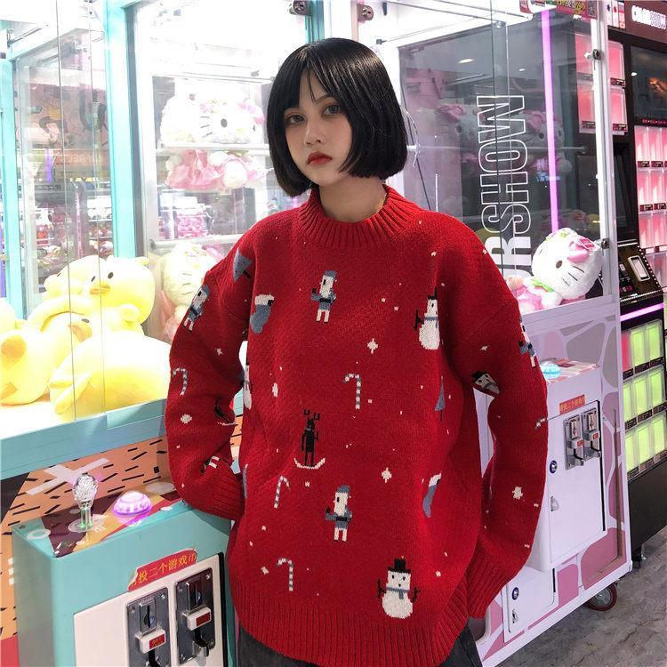 itGirl Shop WINTER HOLIDAY DESIGN RED KNIT SWEATER