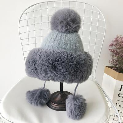 itGirl Shop WINTER WARM PASTEL COLORS KNITTED BEANIE WITH EARMUFF
