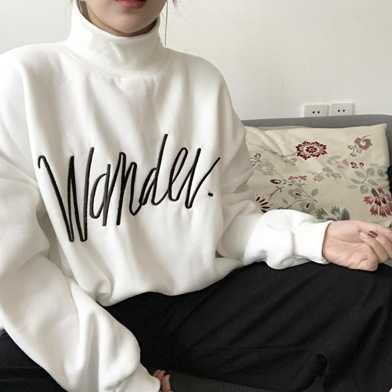 itGirl Shop WONTER EMBROIDERY LETTER SOFT MATERIAL WARM SWEATSHIRT
