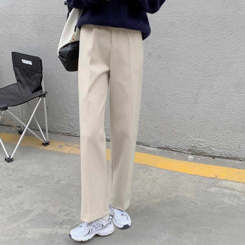 itGirl Shop WOOLEN KOREAN AESTHETIC SOLID COLOR PANTS