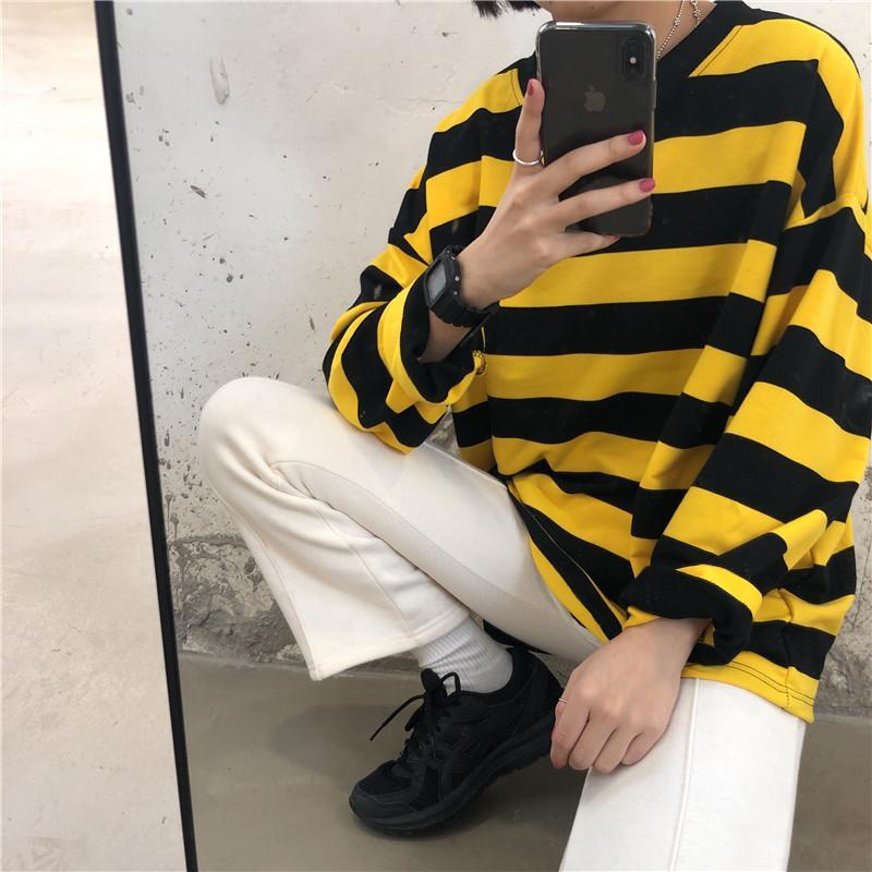itGirl Shop YELLOW BLACK CONTRAST STRIPES LOOSE LONG SLEEVE SHIRT