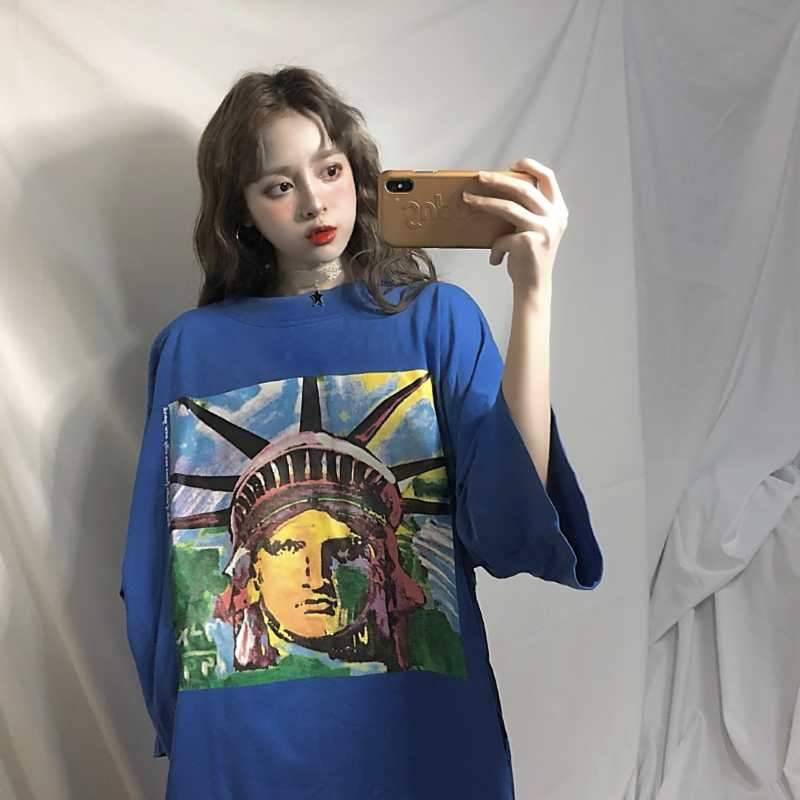 itGirl Shop YELLOW BLUE STATUE OF LIBERTY COLORFUL PRINT OVERSIZE LONG T-SHIRT