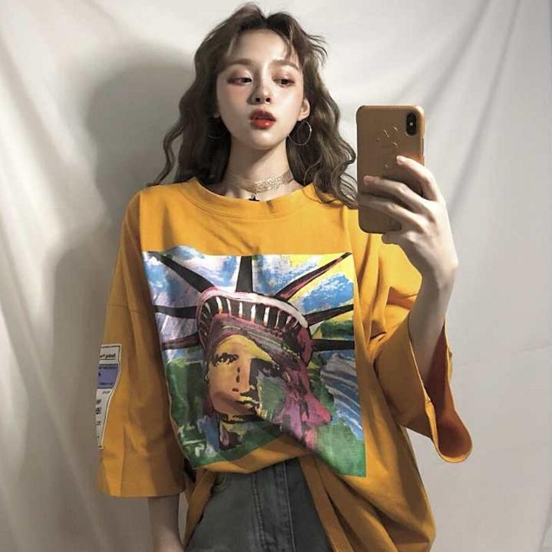 YELLOW BLUE STATUE OF LIBERTY COLORFUL PRINT OVERSIZE LONG T-SHIRT