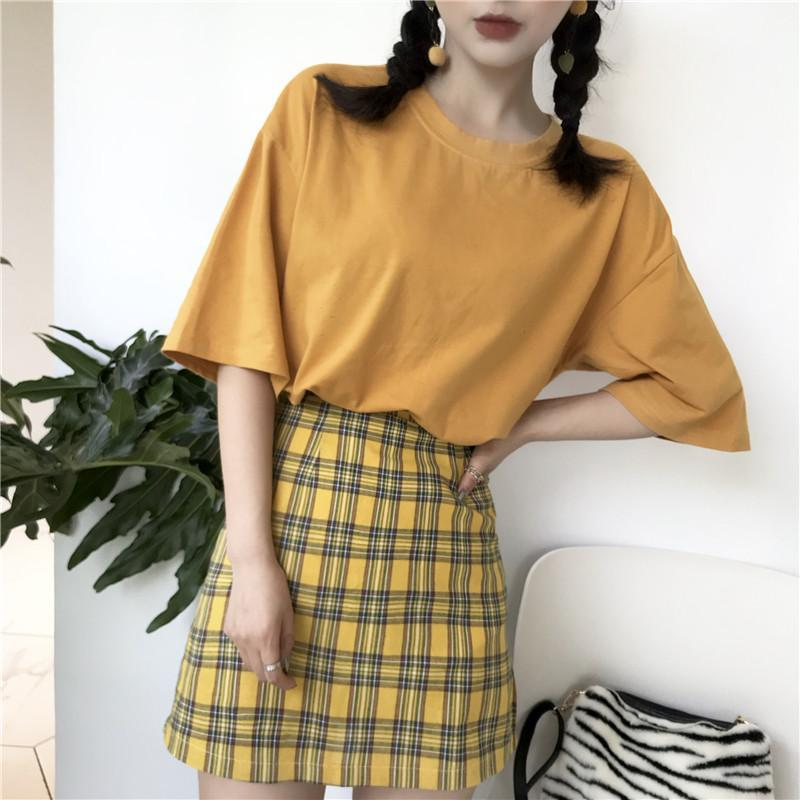 YELLOW PLAID PENCIL GRUNGE SCHOOL STYLE SKIRT