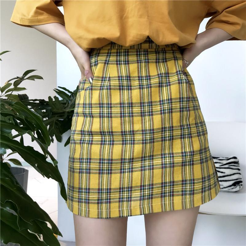 itGirl Shop YELLOW PLAID PENCIL GRUNGE SCHOOL STYLE SKIRT