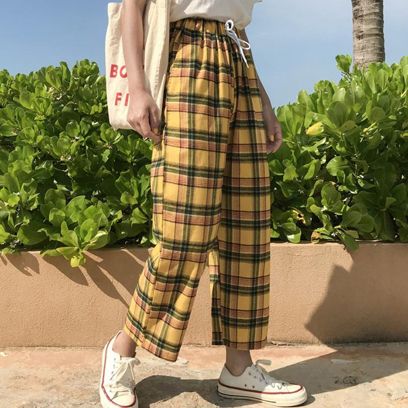 itGirl Shop YELLOW TARTAN PLAID VINTAGE AESTHETIC OVERSIZED PANTS