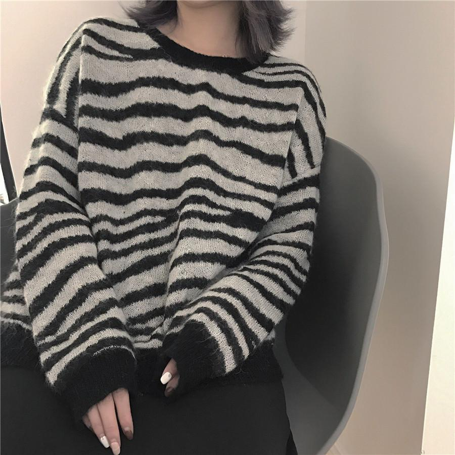 itGirl Shop ZEBRA STRIPES PATTERN KNIT WARM O-NECK SWEATER