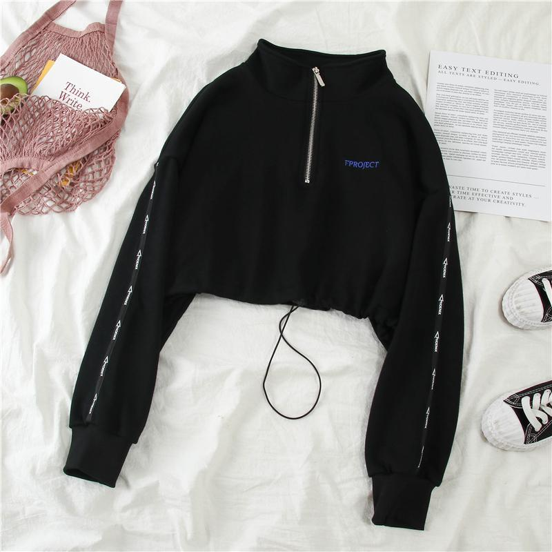 itGirl Shop ZIPPER COLLAR RAVE AESTHETIC CROPPED SWEATSHIRT