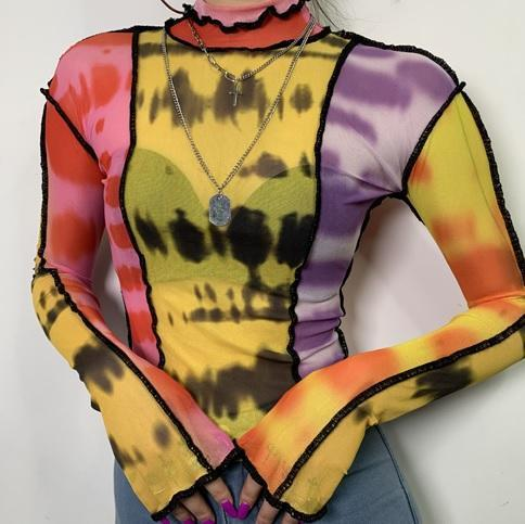 NORMCORE STUDIOS COLORFUL TIE DYE TRANSPARENT LONG SLEEVED SHIRT