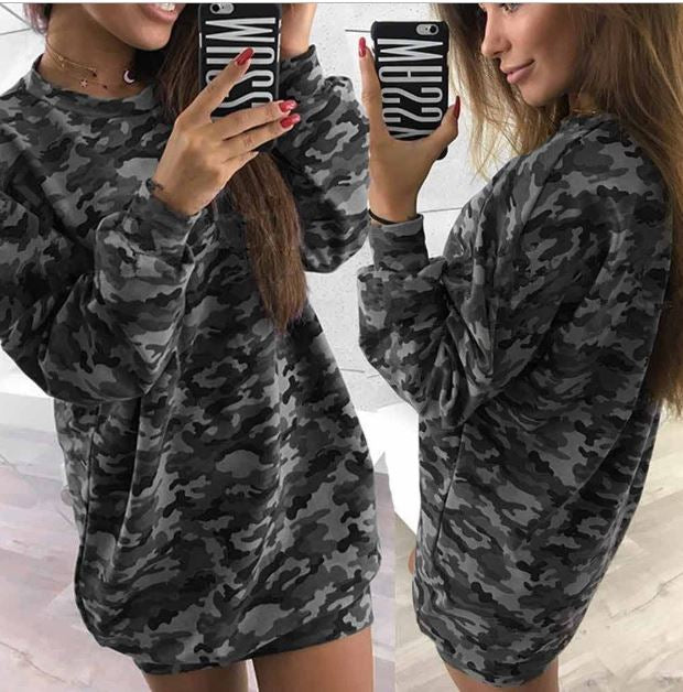 100a8a8eca9 Plus Size Women Hoodies Dress Love Pattern Casual Sweatshirt Tunic Lady  Fashion Camouflage Print Hooded Dresses. Click to expand