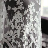 1 Meter High Quality 110cm Width White Vintage Embroidered Lace Fabric With Floral 3D Flower Luxury Wedding Gown Lace Fabric