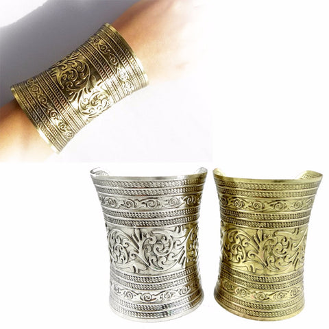 1 Pc Fashon Women Punk Metallic Gothic Long Wide Vintage Metal Cuff Curved Bangle Bracelet Adjust Gifts For Lady Girl Wholesale