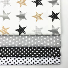100% cotton twill textile black gray stars black white polka dot 0.8cm fabric for DIY bedding handwork quilting patchwork craft
