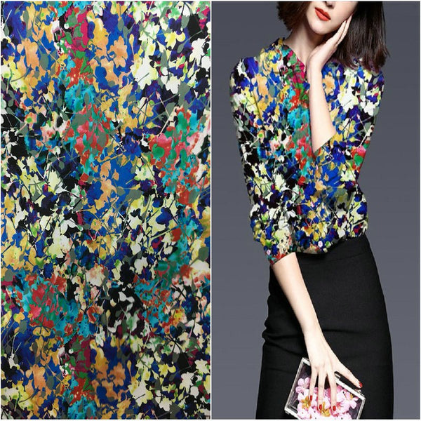 108cm wide 19mm silk fabric colorful leaf print stretch silk satin fabric for dress shirt  cheongsam silk cloth wholesale