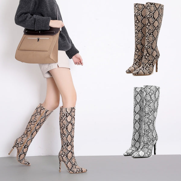 11.11 Women Knee High Boots Sexy Snakeskin Riding Zip Women Shoes Thin High Heels Women Boots Fashion Shoes Female Party Boots